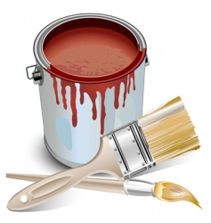 Tin with paint and brushes vector