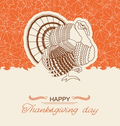 Turkey bird background for thanksgiving day card vector