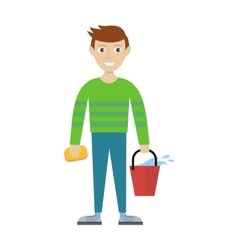 Member of Cleaning Service with Bucket and Sponge vector image