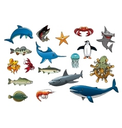 Sea fish and ocean animals cartoon icons vector