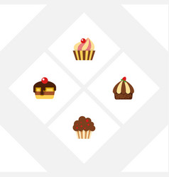 flat cake set of cupcake dessert sweetmeat and vector image