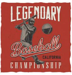 Baseball t-shirt label design vector