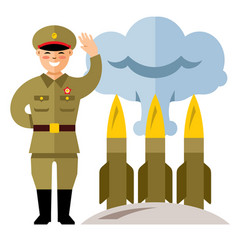 North korea missile system flat style vector