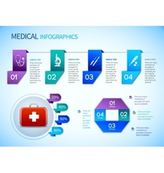 Origami infographics medical template vector