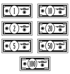 Fictional black white dollar banknotes vector