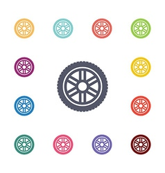 car wheel flat icons set vector image