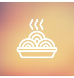 Hot meal in plate thin line icon vector
