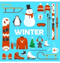 Winter holidays objects vector