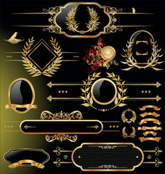 Set of black gold - framed labels vector