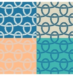 Set of 4 marine rope loop seamless pattern vector