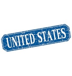 United states blue square grunge retro style sign vector