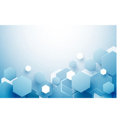 abstract blue and white hexagons background vector image vector image