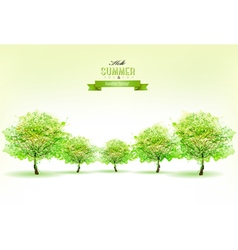 Beautiful summer nature background with green vector