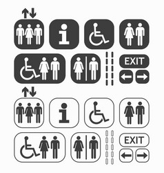 black man and woman public access icons set vector image