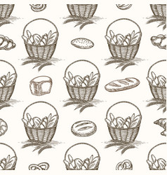 Bread basket and buns seamless pattern vector