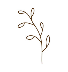 Brown contour graphic of branch with leaves vector