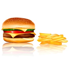 burger and chips vector image vector image