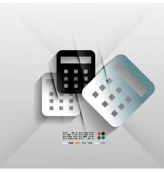 Calculator icon 3d paper design vector image
