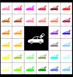 Car sign with tag felt-pen 33 colorful vector