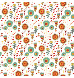 Children seamless pattern of wild flowers vector