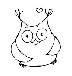 Cute funny happy cheerful owl bird isolated on a vector