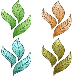 Design of leaves No gradient vector image vector image