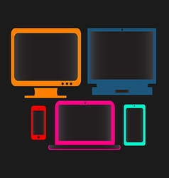 Digital devices neon color vector
