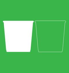 Dustbin or trash basket icon white color vector