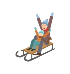 Father and son on sled winter sports vector
