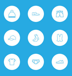 Garment outline icons set collection of briefs vector