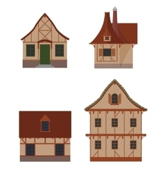 Half-timbered houses set vector image