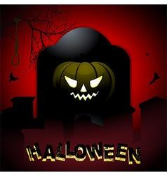 Halloween tombstone and pumpkin background vector