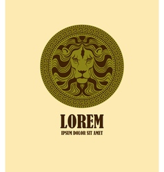 Lion head medallion logo design template vector