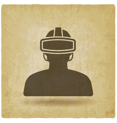 Man in glasses virtual reality vintage background vector
