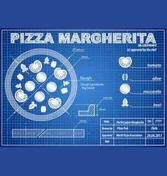 pizza margherita ingredients blueprint scheme vector image vector image