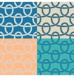 Set of 4 marine rope loop seamless pattern vector image vector image