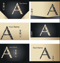 Set of black and golden business card with letter vector