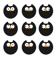 set of icons owls vector image vector image