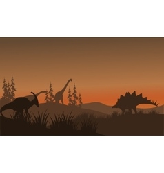 Silhouette oof many dinosaur in hills vector