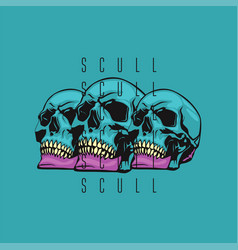 skull color vector image vector image