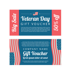 Veterans day gift voucher vector