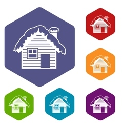 Wooden house covered with snow icons set vector image vector image