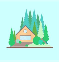 Wooden house in the woods vector