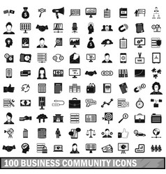 100 business community icons set simple style vector
