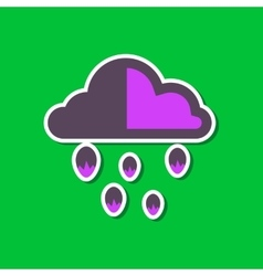 paper sticker on stylish background of cloud hail vector image