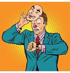 The clown looks at his watch vector image