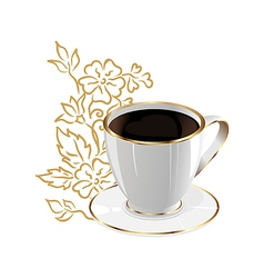 Cup of coffee isolated with floral design elements vector