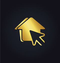 House pointer arrow gold logo vector