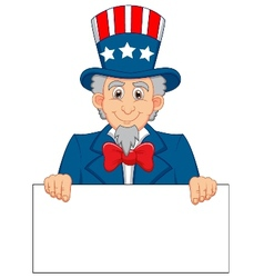 Uncle Sam cartoon and blank sign vector image
