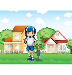 A smiling girl and her bike near the big houses vector image